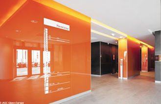 Decorative Waterproof RAL 2001 Orange Classic Lacquered Glass , For Interior Applications from China