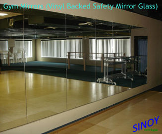 6mm Vinyl Backing Processed Mirror Glass For Fitness Club / Dance Studios